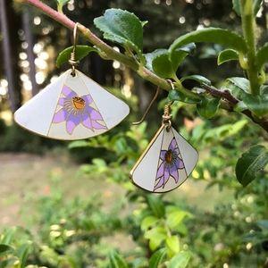Laurel Burch Fan Enamel Earrings White Purple Iris